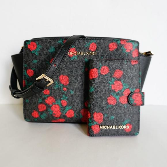 a186b719aa8573 Michael Kors Bags | Selma Xbody Wallet Black Red Rose | Poshmark